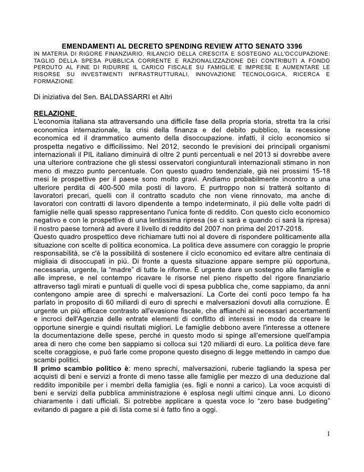 EMENDAMENTI AL DECRETO SPENDING REVIEW ATTO SENATO 3396IN MATERIA DI RIGORE FINANZIARIO, RILANCIO DELLA CRESCITA E SOSTEGN...