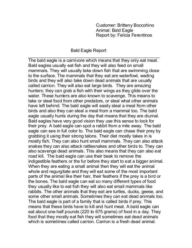 Customer: Britteny Boccohino Animal: Bald Eagle Report by: Felicia Ferentinos Bald Eagle Report __________________________...