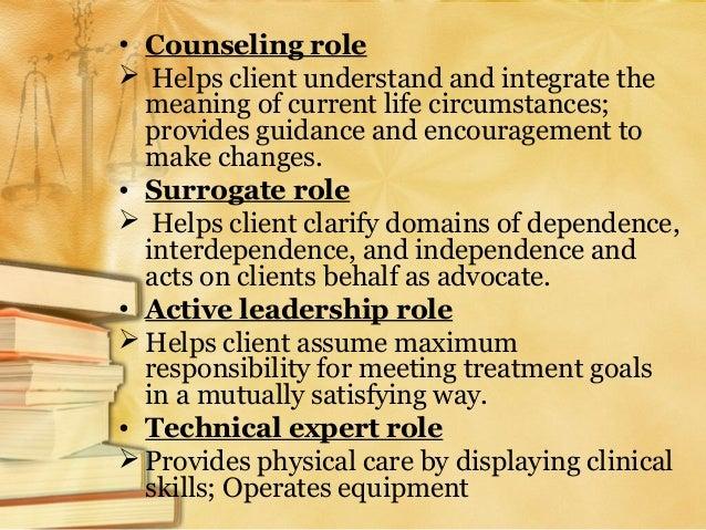 1. Technical expert 2. Consultant 3. Health teacher 4. Tutor 5. Socializing agent 6. Safety agent 7. Manager of environmen...