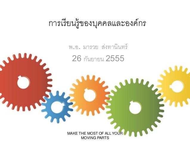 การเรี ยนรู้ของบุคคลและองค์กร พ.อ. มารวย ส่งทานินทร์ 26 กันยายน 2555  MAKE THE MOST OF ALL YOUR MOVING PARTS