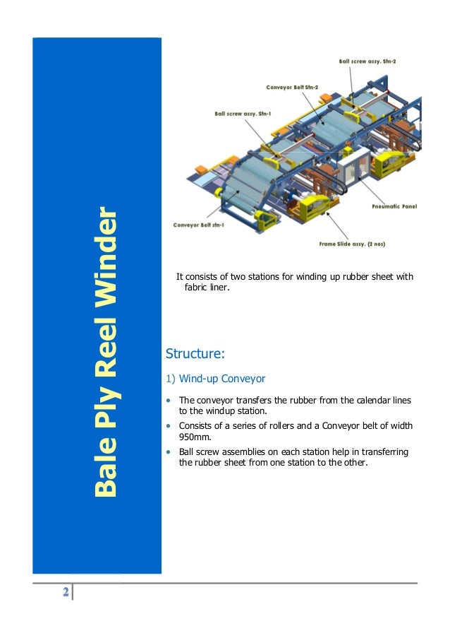 2 It consists of two stations for winding up rubber sheet with fabric liner. Structure: 1) Wind-up Conveyor  The conveyor...