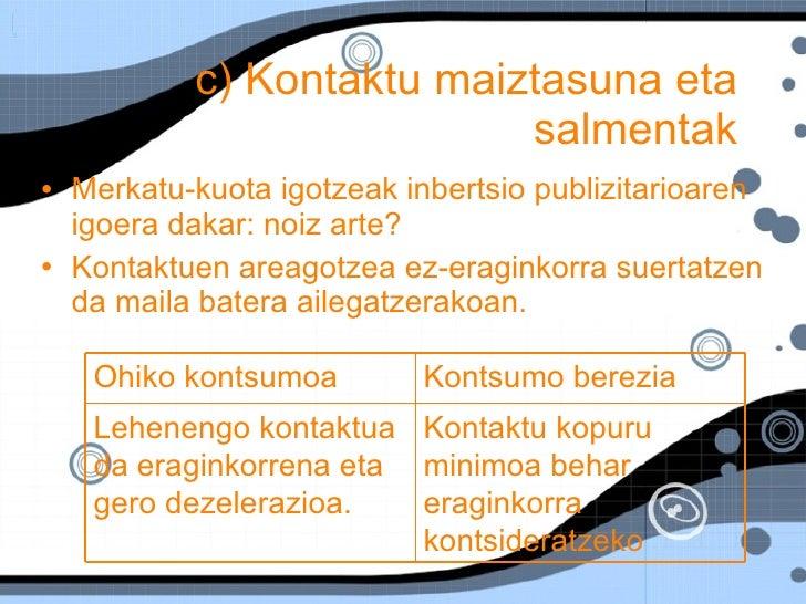 c) Kontaktu maiztasuna eta salmentak <ul><li>Merkatu-kuota igotzeak inbertsio publizitarioaren igoera dakar: noiz arte? </...