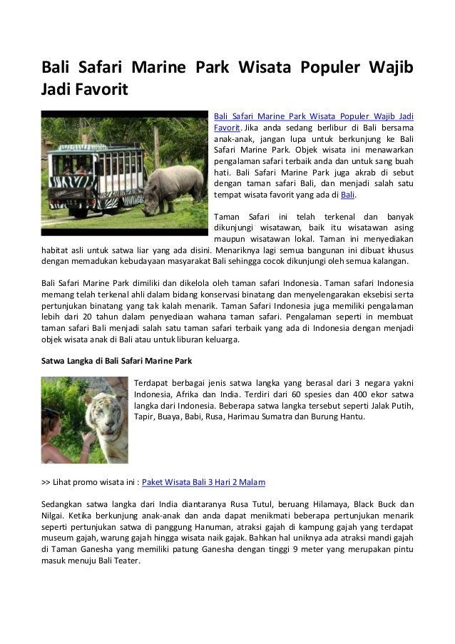 Bali Safari Marine Park Wisata Populer Wajib Jadi Favorit
