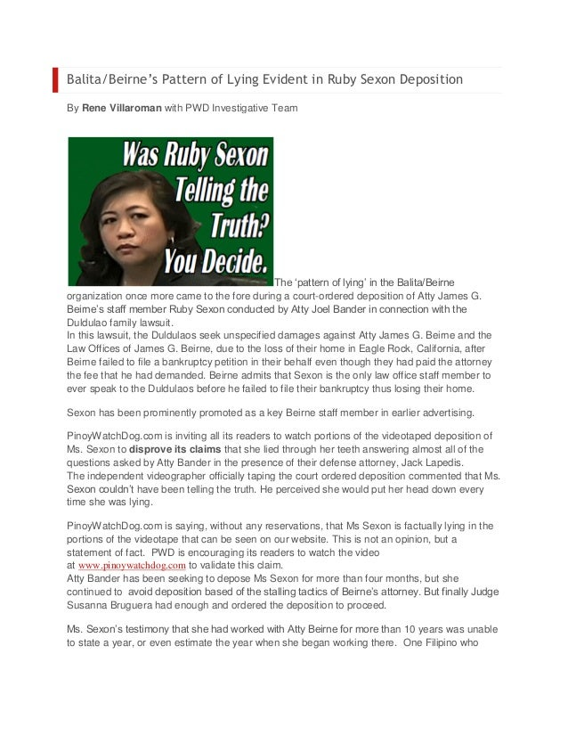 Balita/Beirne's Pattern of Lying Evident in Ruby Sexon DepositionBy Rene Villaroman with PWD Investigative Team           ...