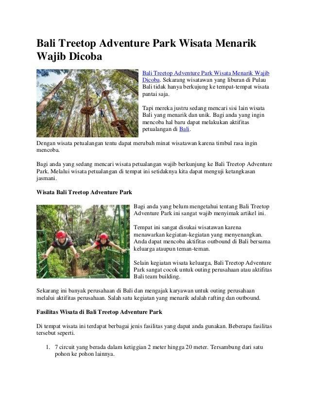 Bali Treetop Adventure Park Wisata Menarik Wajib Dicoba