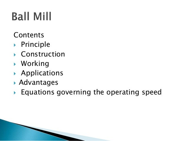 Contents  Principle  Construction  Working  Applications  Advantages  Equations governing the operating speed
