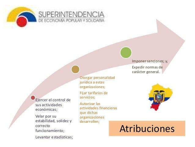 Atribuciones  Ejercer el control de  sus actividades  económicas;  Velar por su  estabilidad, solidez y  correcto  funcion...