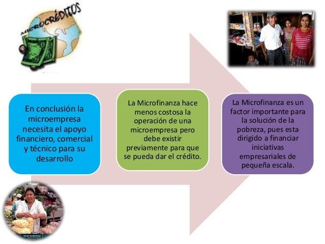En conclusión la  microempresa  necesita el apoyo  financiero, comercial  y técnico para su  desarrollo  La Microfinanza h...