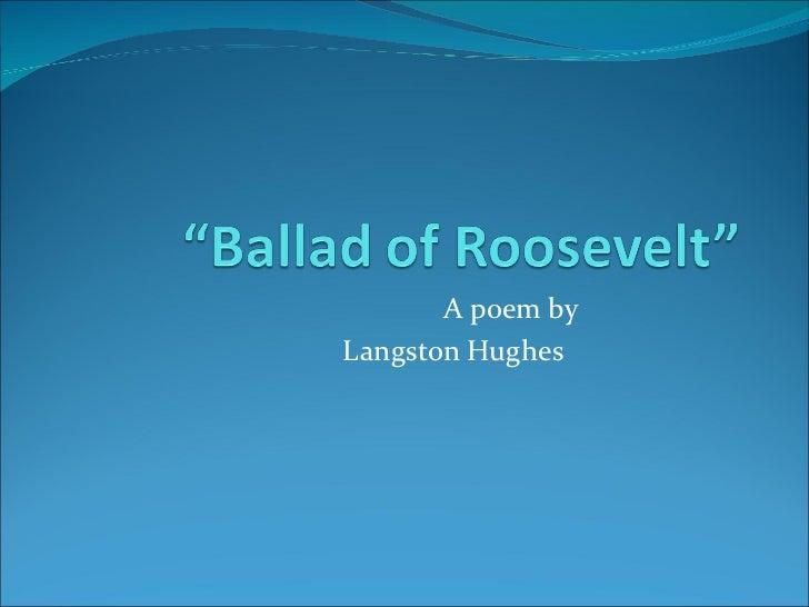 A poem by  Langston Hughes