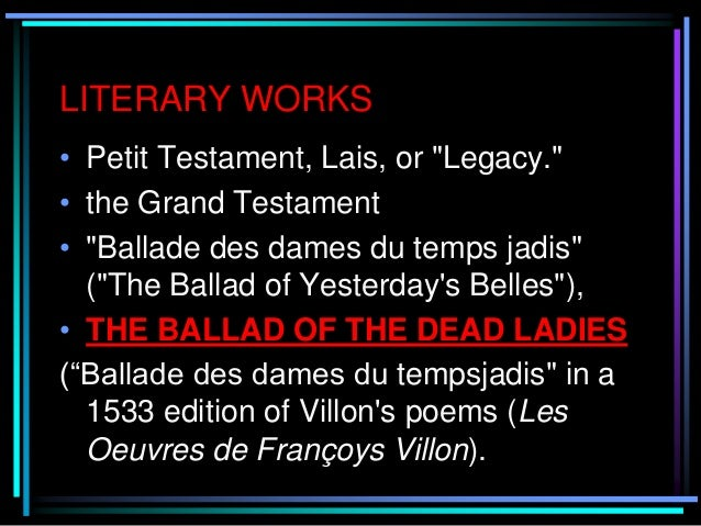 ballad of the dead ladies The interpretation of the poem the ballad of dead ladies isquestioning where have all the women gone.