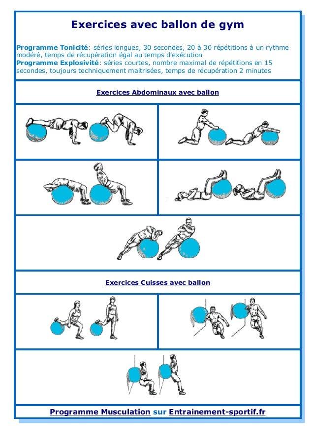 Exercices avec ballon de gym Programme Tonicité: séries longues, 30 secondes, 20 à 30 répétitions à un rythme modéré, temp...