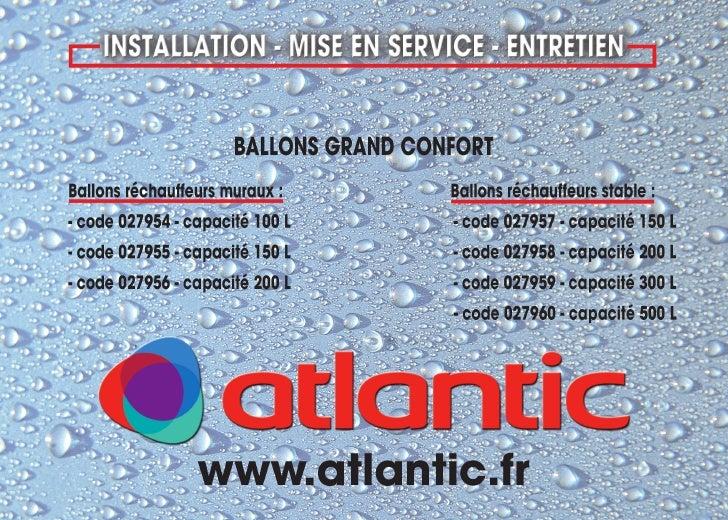 Ballon grand confort notice tech atlantic franco belge - Comptoire d electricite franco belge ...