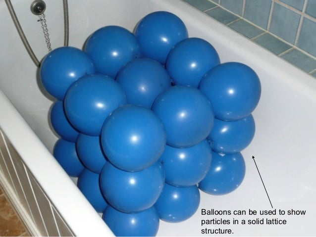 Balloons can be used to showparticles in a solid latticestructure.