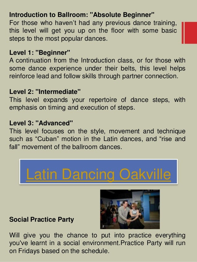 """Latin Dancing Oakville Introduction to Ballroom: """"Absolute Beginner"""" For those who haven't had any previous dance training..."""