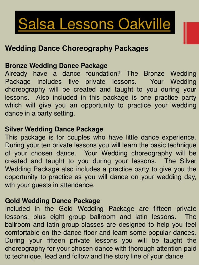 Salsa Lessons Oakville Wedding Dance Choreography Packages Bronze Wedding Dance Package Already have a dance foundation? T...
