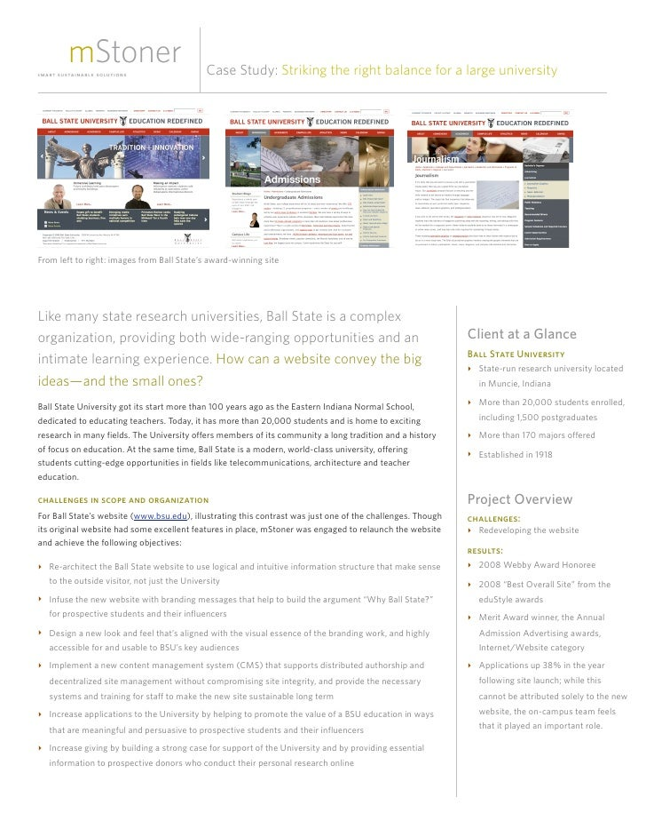 Case Study: Striking the right balance for a large university     From left to right: images from Ball State's award-winni...