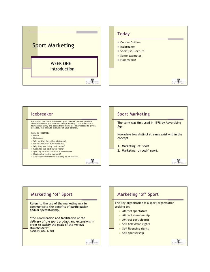 Today                                                                     Course Outline  Sport Marketing                ...