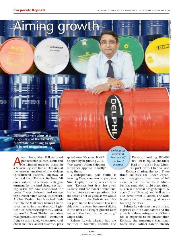 u 70 u January 20, 2013 Business India u the maga zine of the cor por ate wor ldCorporate Reports A year back, the Kolkata...