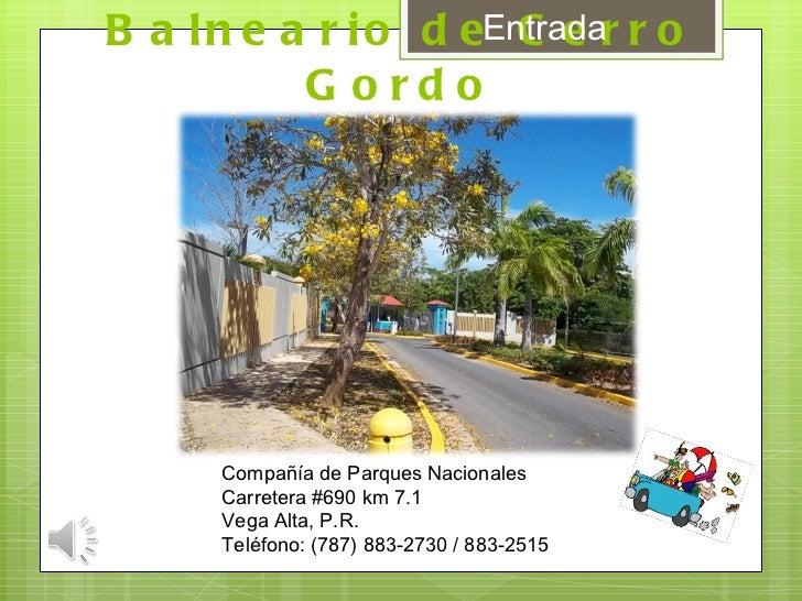 Balneario de Cerro Gordo Compañía de Parques Nacionales Carretera #690 km 7.1 Vega Alta, P.R.  Teléfono: (787) 883-2730 / ...
