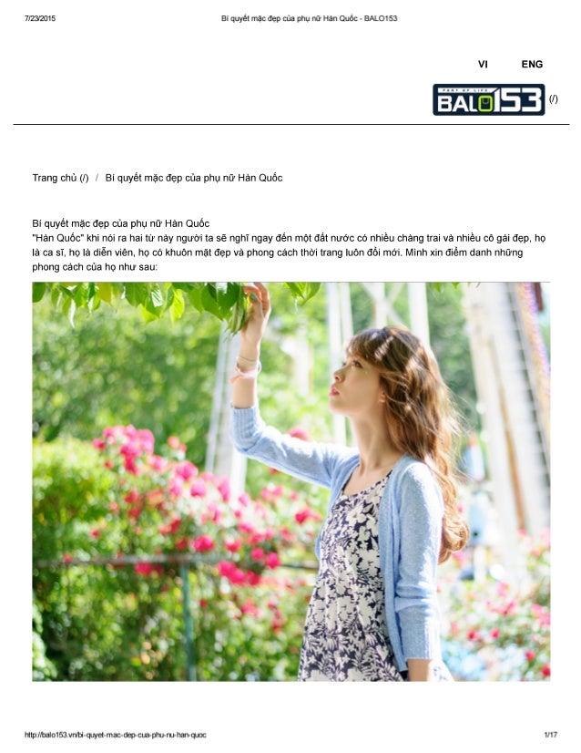 7/23/2015 BI quyét mặc đẹp của phụ nữ Hàn Quốc - BALO153  Vl ENG  (/)     Trang chủ (/) / Bí quyết mặc đẹp của phụ nữ Hàn ...
