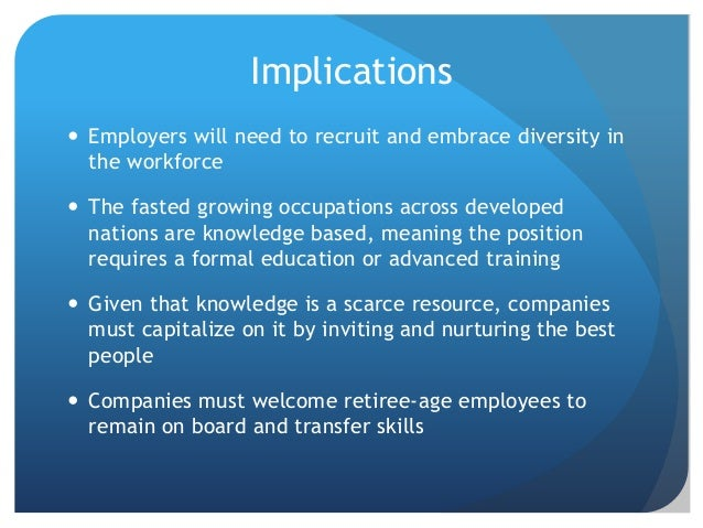 Implications  Employers will need to recruit and embrace diversity in the workforce  The fasted growing occupations acro...