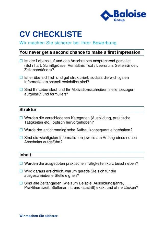 Erfolgreich Bewerben Checkliste Bewerbung Der Baloise Group
