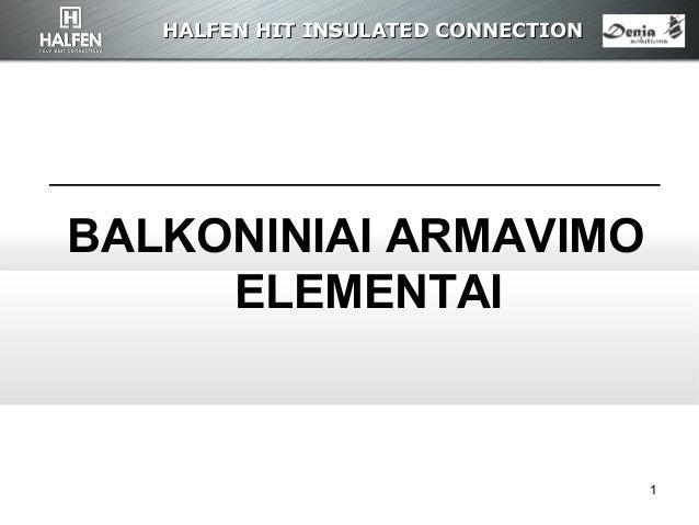 HALFEN HITHALFEN HIT INSULATED CONNECTIONINSULATED CONNECTION 1 BALKONINIAI ARMAVIMO ELEMENTAI