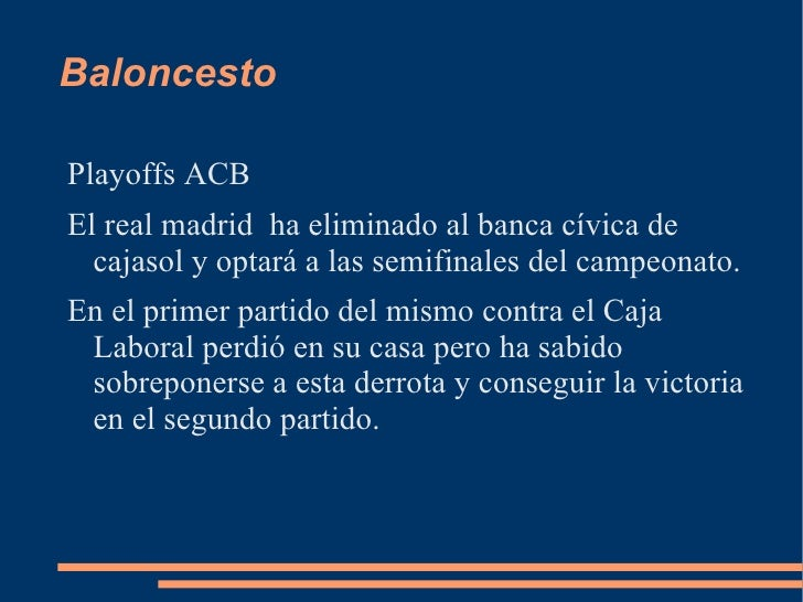 BaloncestoPlayoffs ACBEl real madrid ha eliminado al banca cívica de  cajasol y optará a las semifinales del campeonato.En...