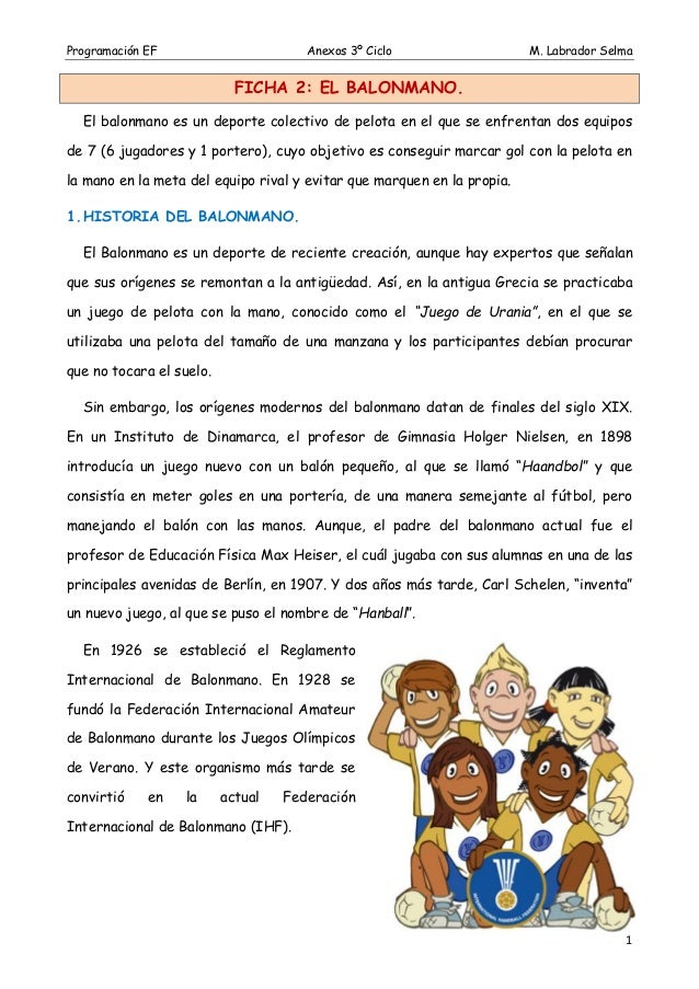 Programación EF  Anexos 3º Ciclo  M. Labrador Selma  FICHA 2: EL BALONMANO. El balonmano es un deporte colectivo de pelota...
