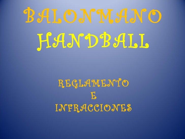 BALONMANO HANDBALL REGLAMENTO E INFRACCIONES