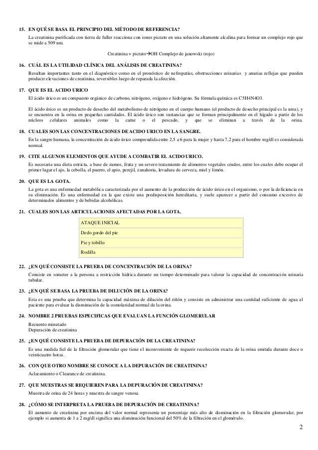 tabla acido urico determinacion de las concentraciones de acido urico en orina y suero sanguineo alimentos que afecta el acido urico