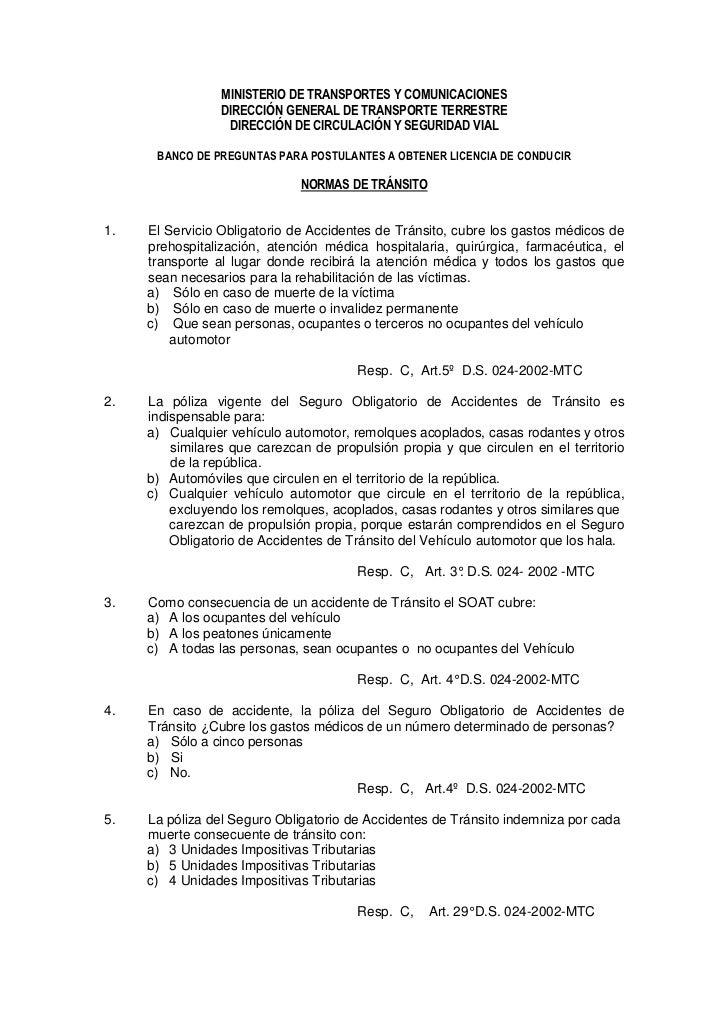MINISTERIO DE TRANSPORTES Y COMUNICACIONES                  DIRECCIÓN GENERAL DE TRANSPORTE TERRESTRE                   DI...