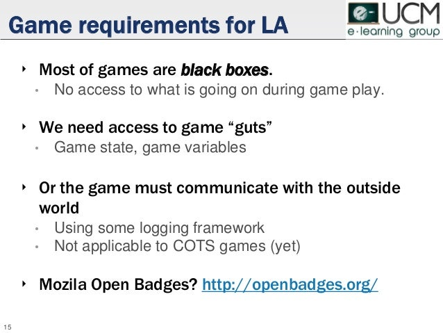 Game requirements for LA ‣ Most of games are black boxes. • No access to what is going on during game play. ‣ We need acce...