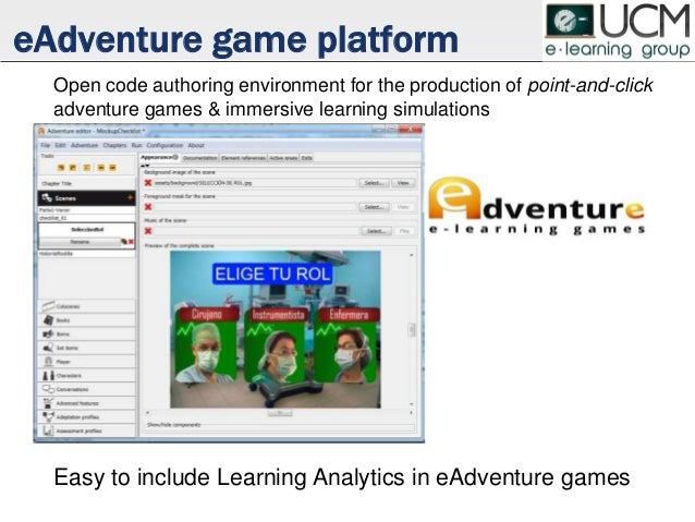 eAdventure game platform Open code authoring environment for the production of point-and-click adventure games & immersive...