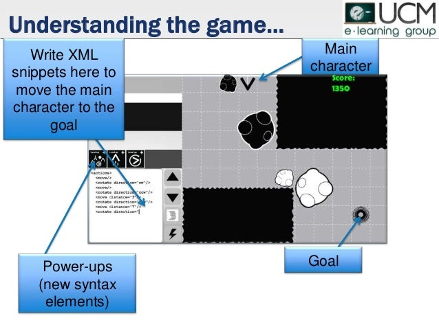 Understanding the game… Goal Main character Power-ups (new syntax elements) Write XML snippets here to move the main chara...