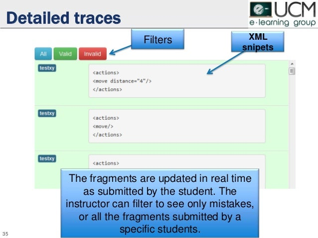 Detailed traces 35 Filters XML snipets The fragments are updated in real time as submitted by the student. The instructor ...