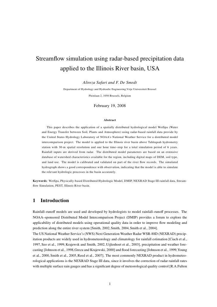 Streamflow simulation using radar-based precipitation data                    applied to the Illinois River basin, USA     ...