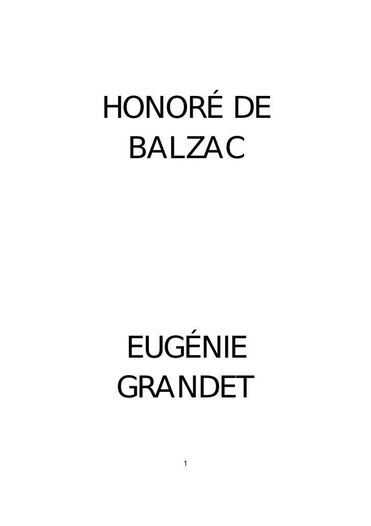 HONORÉ DE BALZACEUGÉNIEGRANDET    1