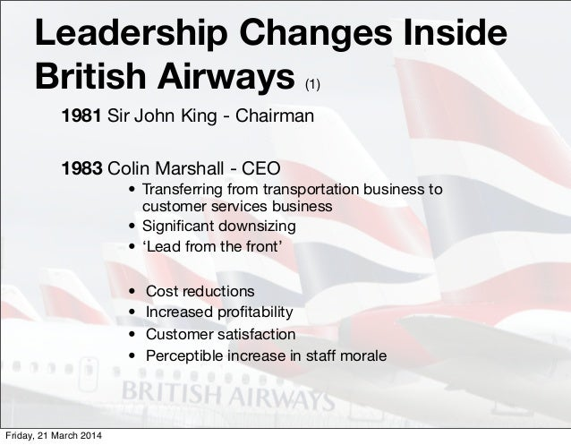 managing changes in the british airways organization Leadership/ change management case length, : 15 pages period, : 1980 -  2003 pub date, : 2003 teaching note, : not available organization, : british.