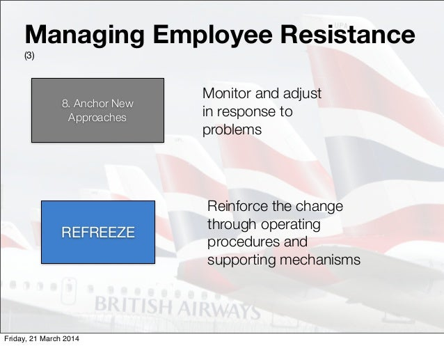 managing change in british airways Consultants in ba in supporting the decisions and management processes of   at british airways: the impact of soft or, journal of organizational change.