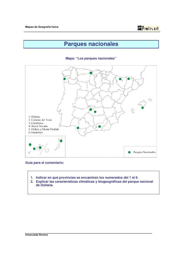 """Mapas de Geografía física                            Parques nacionales                            Mapa: """"Los parques naci..."""
