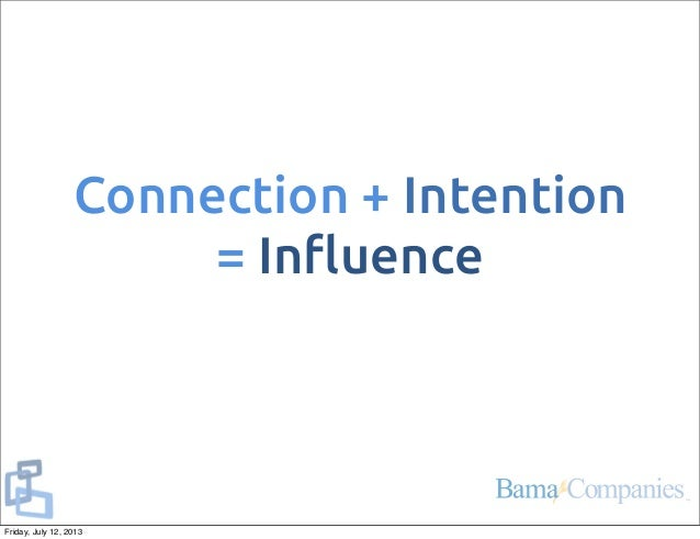 Connection + Intention = In!uence Friday, July 12, 2013