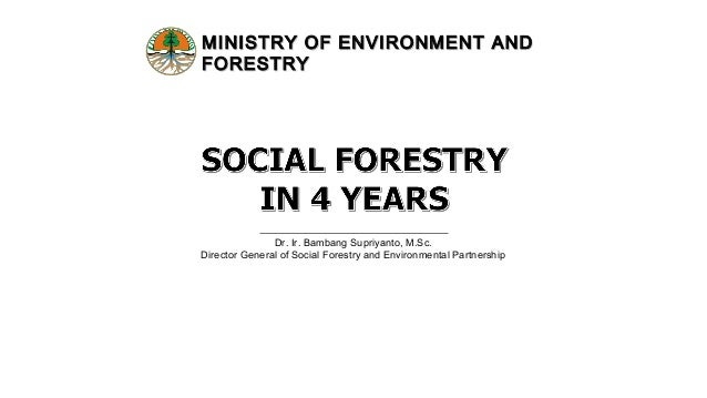 MINISTRY OF ENVIRONMENT ANDMINISTRY OF ENVIRONMENT AND FORESTRYFORESTRY Dr. Ir. Bambang Supriyanto, M.Sc. Director General...
