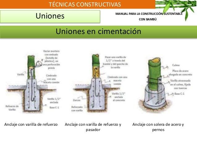 TÉCNICAS CONSTRUCTIVAS Uniones Uniones en cimentación Anclaje con varilla de refuerzo Anclaje con varilla de refuerzo y pa...