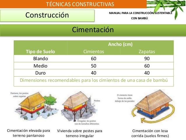 TÉCNICAS CONSTRUCTIVAS Construcción Cimentación elevada para terreno pantanoso MANUAL PARA LA CONSTRUCCIÓN SUSTENTABLE CON...