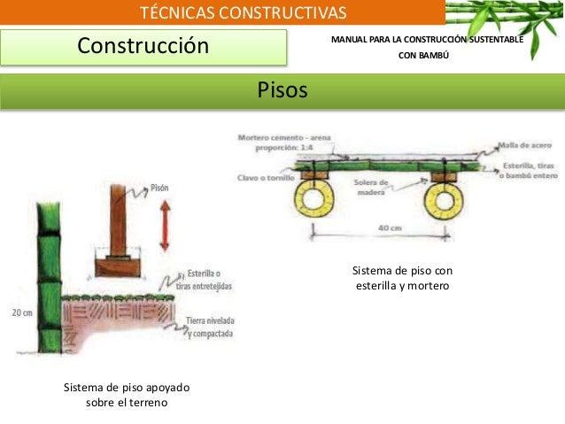 TÉCNICAS CONSTRUCTIVAS Construcción MANUAL PARA LA CONSTRUCCIÓN SUSTENTABLE CON BAMBÚ Pisos Sistema de piso apoyado sobre ...