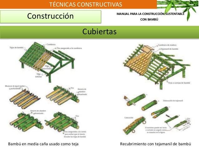 TÉCNICAS CONSTRUCTIVAS Construcción MANUAL PARA LA CONSTRUCCIÓN SUSTENTABLE CON BAMBÚ Cubiertas Bambú en media caña usado ...