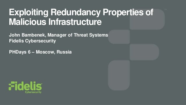 Exploiting Redundancy Properties of Malicious Infrastructure John Bambenek, Manager of Threat Systems Fidelis Cybersecurit...