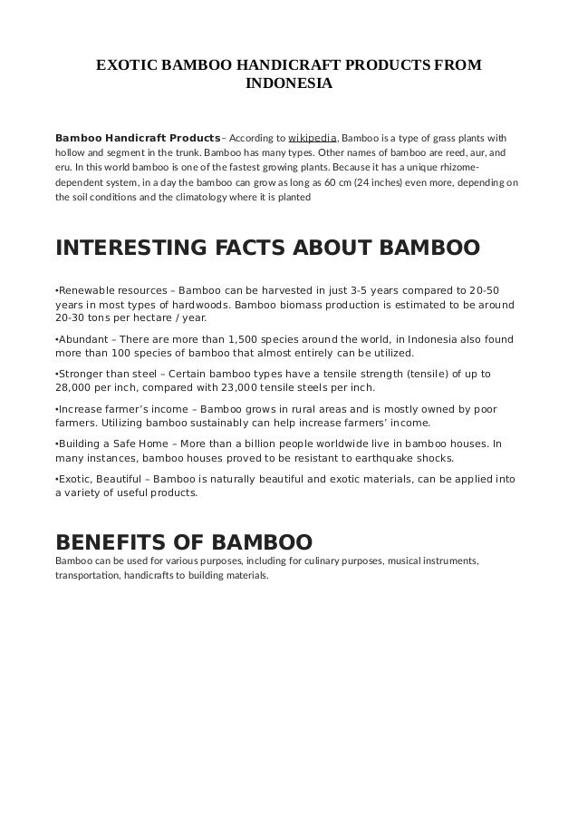 Exotic Bamboo Handicrafts Catalog From Indonesia