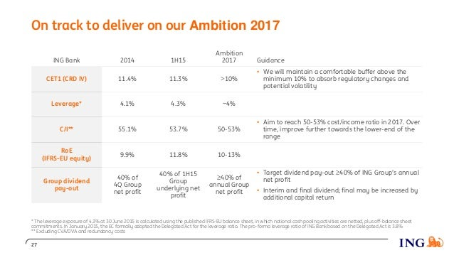 On track to deliver on our Ambition 2017 ING Bank 2014 1H15 Ambition 2017 Guidance CET1 (CRD IV) 11.4% 11.3% >10% • We wil...